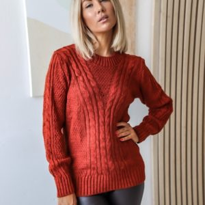 Заказать терракотовый вязаный свитер для женщин с узорами (размер 42-52) дешево