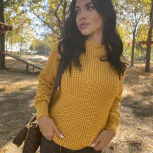 Купить горчица женский вязаный свитер из пряжи шерсти и акрила (размер 42-48) по скидке