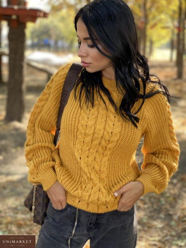 Приобрести горчица женский вязаный свитер oversize с шерстью (размер 42-48) на зиму по скидке