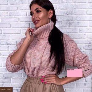 Приобрести пудра женский свитер под горло со спущенной линией плеча дешево