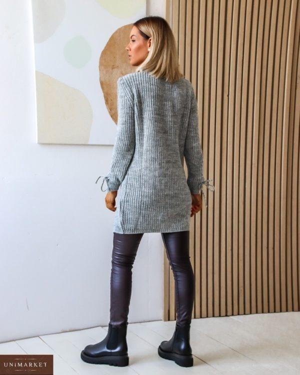 Заказать серого цвета удлиненный вязанный свитер с завязкой (размер 42-54) для женщин дешево