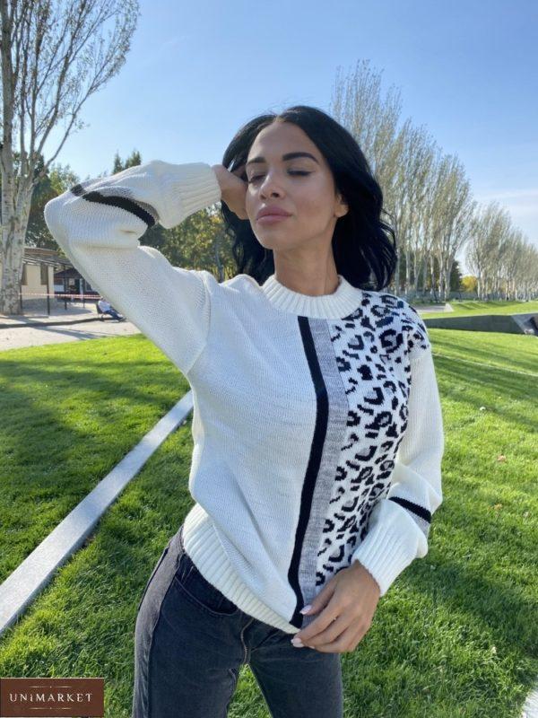Заказать молочный женский свитер с леопардовым принтом (размер 42-48) онлайн