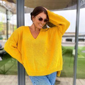 Приобрести горчица свитер оверсайз с V-образным вырезом (размер 42-56) для женщин выгодно