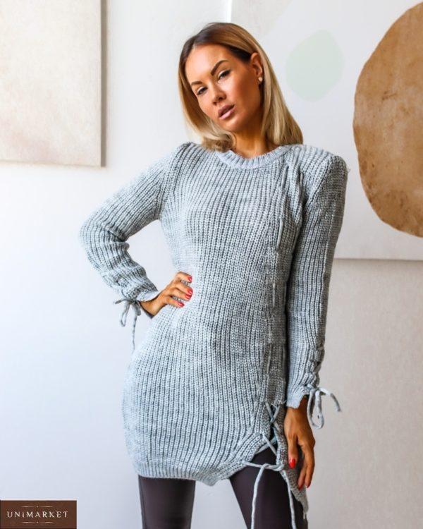 Купить серый удлиненный вязанный свитер с завязкой (размер 42-54) по скидке для женщин