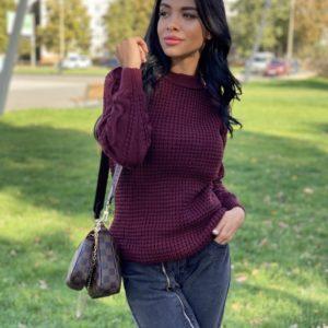 Приобрести сливовый вязаный свитер из пряжи шерсти и акрила (размер 42-48) по низким ценам для женщин