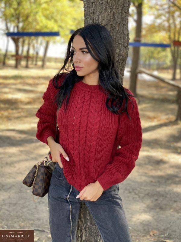 Заказать бордовый вязаный свитер oversize с шерстью женский (размер 42-48) онлайн