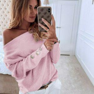 Заказать розовый свитер с открытыми плечами из ангоры (размер 42-56) дешево женский на осень
