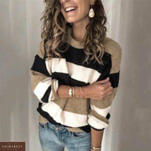 Купить цвета мокко на осень для женщин недорого свитер из велюра в широкую полоску