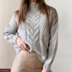 Приобрести серый свитер из кашемира со спущенной линией плеча для женщин в интернете