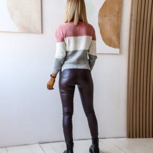 Приобрести серый/белый/розовый женский короткий вязаный трехцветный свитер по низким ценам