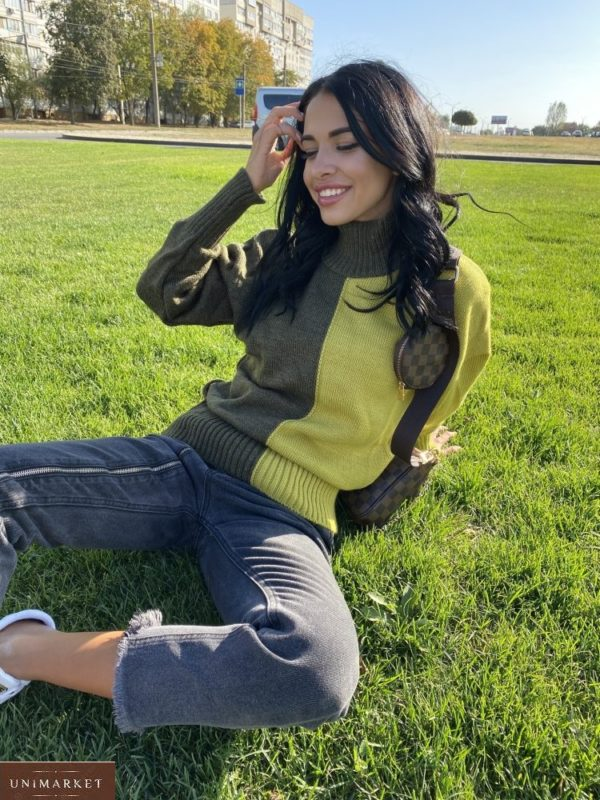 Купить зеленый свитер двух цветов под горло с шерстью (размер 42-48) недорого женский