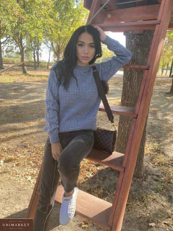 Купить серого цвета дешево женский вязаный свитер из пряжи шерсти и акрила (размер 42-48)