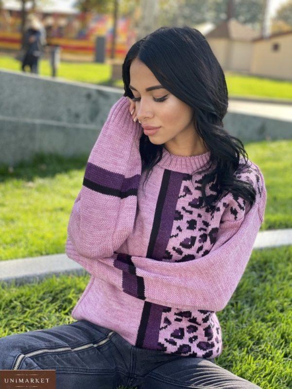 Заказать розовый женский свитер с леопардовым принтом (размер 42-48) недорого