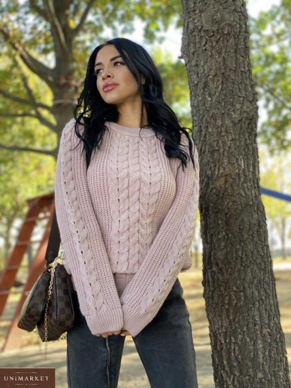 Приобрести беж недорого вязаный свитер oversize с шерстью (размер 42-48) для женщин