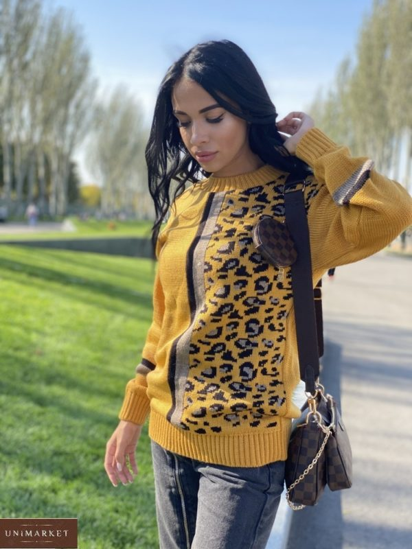 Приобрести горчичный свитер с леопардовым принтом (размер 42-48) по скидке для женщин