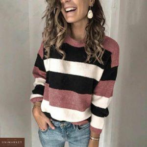 Заказать цвета роза женский свитер из велюра в широкую полоску онлайн
