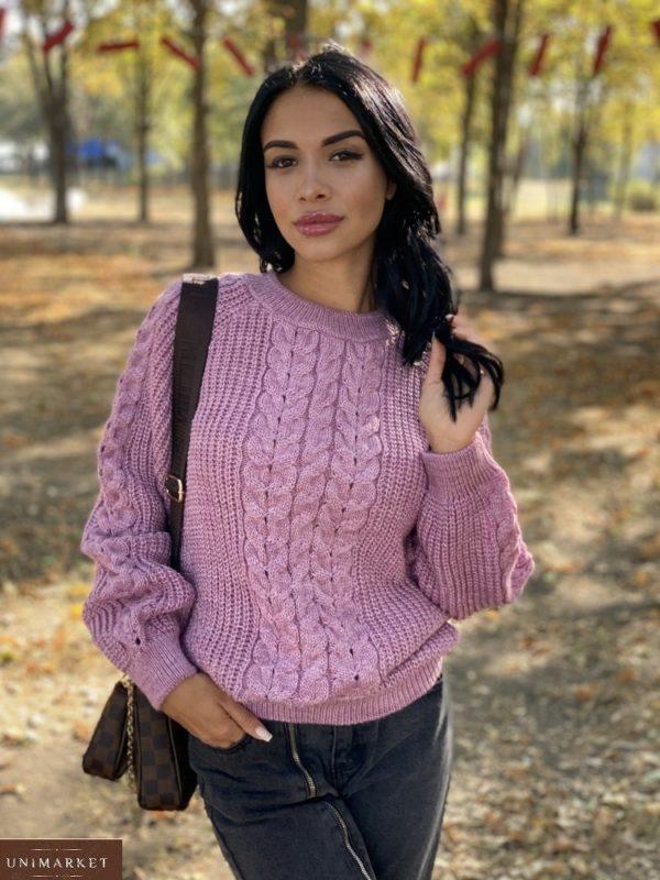 Купить пудра вязаный свитер oversize с шерстью (размер 42-48) выгодно женский
