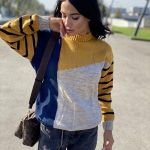 Заказать горчичный женский многоцветный свитер с шерстью (размер 42-48) онлайн