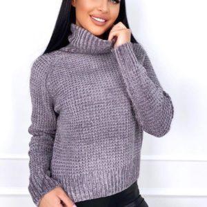 Приобрести онлайн серого цвета свитер с горлом из велюровой нити женский