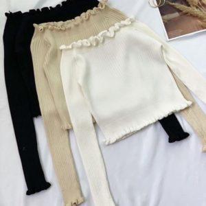 Купить белый, беж, черный вязаный топ для женщин с длинным рукавом недорого