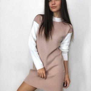 Замовити пудра жіночий светр-туніка з довгим рукавом на поясі дешево на осінь