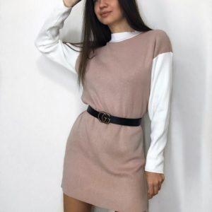 Купити пудра жіночий светр-туніка з довгим рукавом на поясі недорого