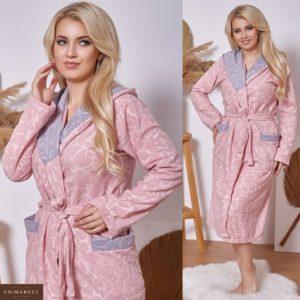 Купить пудра халат женский на запах с капюшоном на поясе (размер 42-60) онлайн