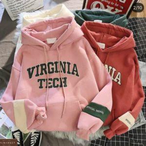 Приобрести пудра, помада худи на флисе с капюшоном женский Virginia Tech недорого