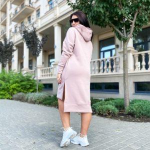 Заказать пудра платье-худи с разрезами по бокам (размер 42-56) для женщин недорого