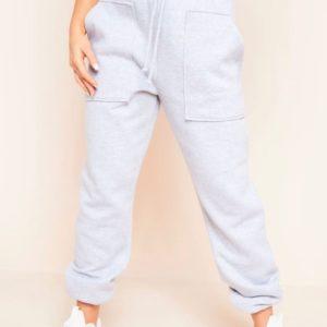 Купить серые Штаны из трехнитки с накладными карманами (размер 42-52) для женщин недорого