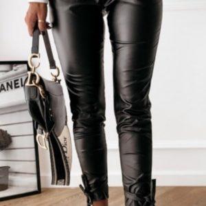 Заказать черные штаны для женщин из эко кожи с завязками (размер 40-52) по скидке
