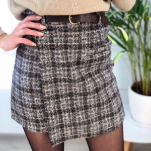 Заказать серую женскую юбку из твида на запах с поясом в комплекте (размер 42-48) недорого