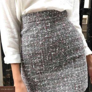 Замовити сіру жіночу міні спідницю з тканини букле недорого