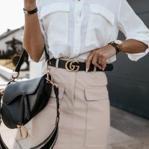 Замовити беж спідницю для жінок з еко шкіри з накладними кишенями онлайн