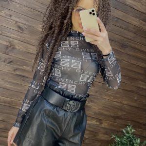 Купити жіночий гольф сіточку Givenchy по знижці чорного кольору