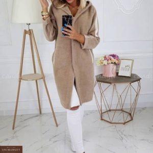 Купить бежевый с капюшоном удлиненный кардиган из шерсти альпака для женщин на осень выгодно