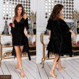 Приобрести черного цвета бархатный халат с пеньюаром (размер 42-48) для женщин выгодно