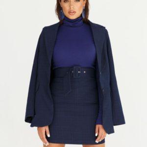 Купить синий костюм для женщин: пиджак с юбкой на поясе в интернете