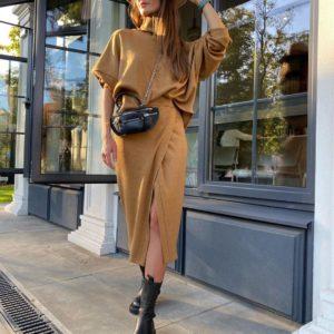 Заказать цвета кэмел женский костюм: кофта с юбкой миди из ангоры по низким ценам