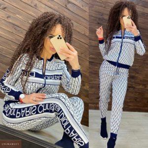 Приобрести женский прогулочный костюм Dior мелкой вязки по низким ценам синего цвета на осень