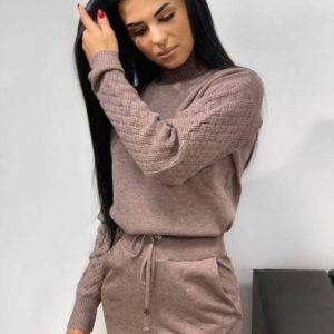 Приобрести мокко вязаный костюм со свитером с плетеными рукавами для женщин в интернете