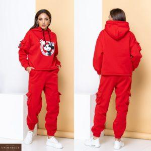 Приобрести красного цвета для женщин спортивный костюм на флисе с Микки Маусом (размер 42-50) на осень выгодно