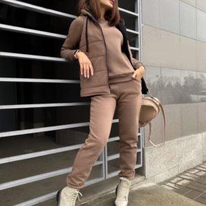 Заказать мокко женский спортивный костюм тройка: брюки+батник+жилетка в интернете