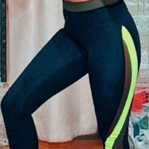 Заказать салатовые женские спортивные лосины с цветными полосками недорого