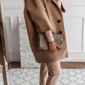 Купить женское пальто оверсайз со спущенной линией плеча (размер 42-52) беж выгодно