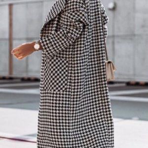 Заказать женское пальто-халат черно-белое из шерсти с кашемиром (размер 42-52) онлайн