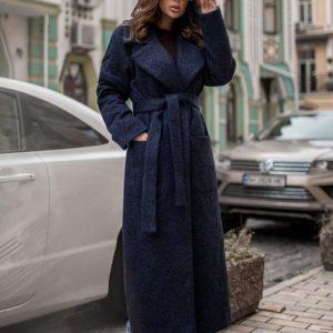 Приобрести женское демисезонное пальто из шерсти с поясом сине-черного цвета онлайн