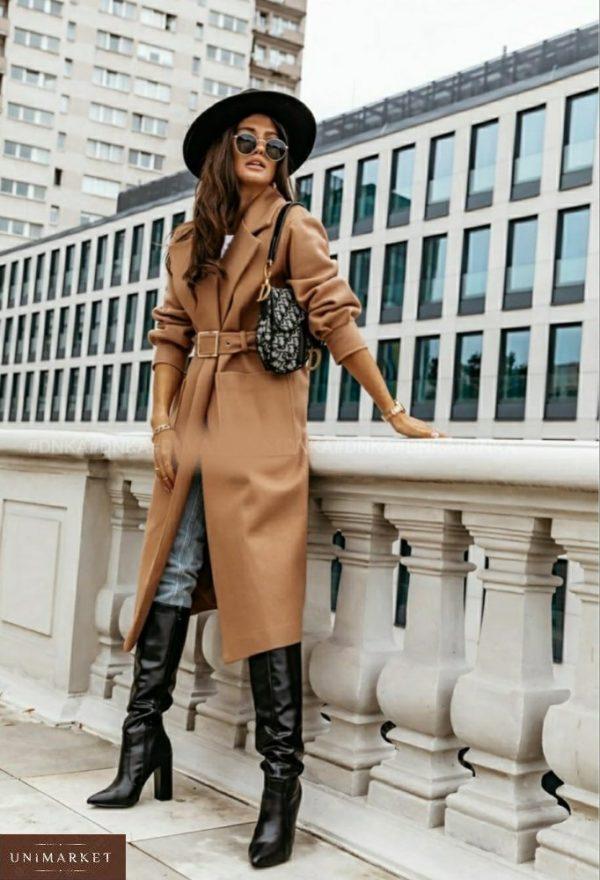 Приобрести бежевое оверсайз пальто с поясом и карманами (размер 42-56) для женщин в интернете