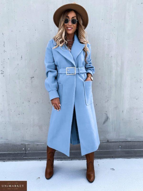 Купить небесного цвета оверсайз пальто с поясом и карманами (размер 42-56) для женщин по скидке