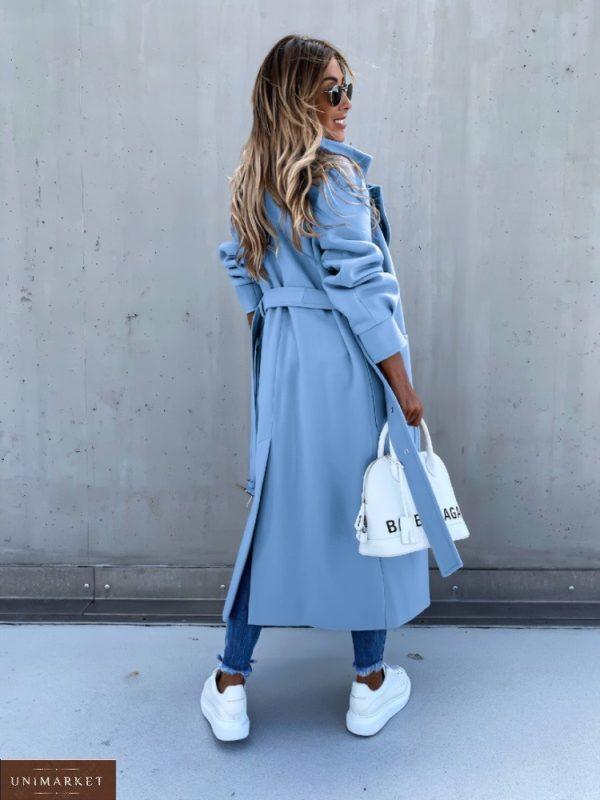 Заказать женское оверсайз пальто с поясом и карманами (размер 42-56) небесного цвета по низким ценам